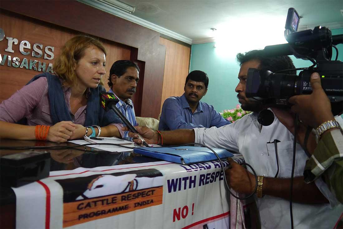 Animals' Angels-Projektleiterin Sophie spricht bei einer Pressekonferenz über die Probleme auf den Märkten und Transporten in Indien
