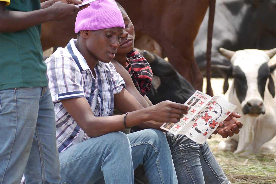 Tiermarkt in Tansania: Ein Arbeiter liest einen Aufklärungs-Flyer von Animals' Angels